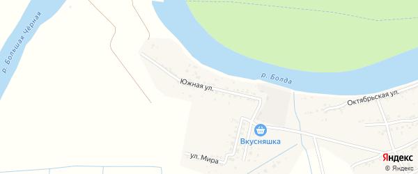 Южная улица на карте села Семибугров Астраханской области с номерами домов