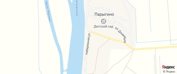 Набережная улица на карте села Парыгино Астраханской области с номерами домов