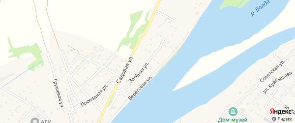 Зеленая улица на карте поселка Начала Астраханской области с номерами домов