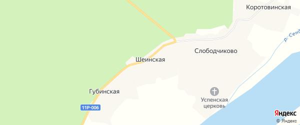 Карта Шеинской деревни в Архангельской области с улицами и номерами домов