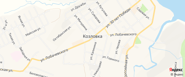 Садовое товарищество Заря-2 на карте Козловки с номерами домов