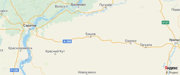 Карта Ершовского района Саратовской области с городами и населенными пунктами