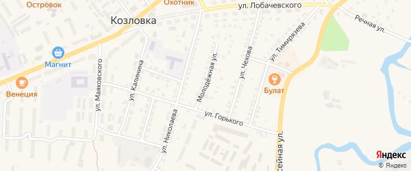 Молодежная улица на карте Козловки с номерами домов