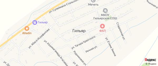 Шоссейная улица на карте села Гильяра Дагестана с номерами домов