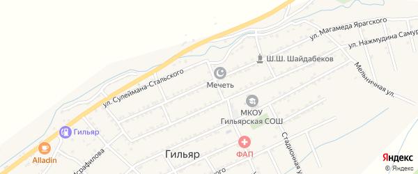 Улица Лезгинцева на карте села Гильяра Дагестана с номерами домов