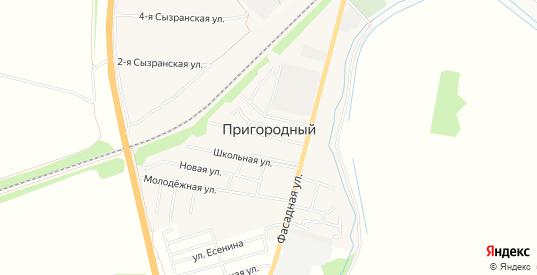 Карта поселка Пригородный в Ульяновске с улицами, домами и почтовыми отделениями со спутника онлайн