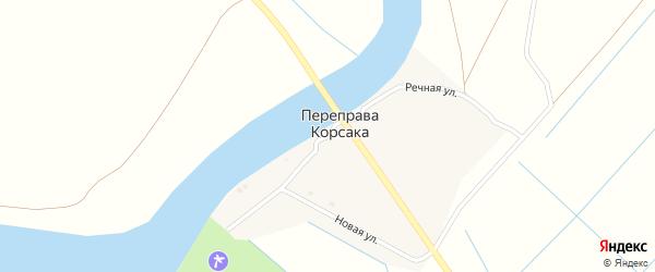 Речная улица на карте поселка Переправы Корсака Астраханской области с номерами домов