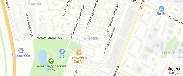 Микрорайон 6 УЗТС на карте Ульяновска с номерами домов