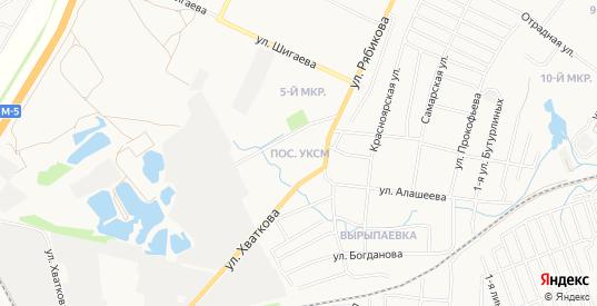 Карта поселка УКСМ в Ульяновске с улицами, домами и почтовыми отделениями со спутника онлайн