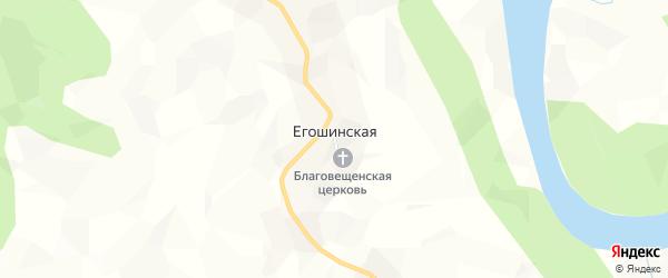 Карта Егошинской деревни в Кировской области с улицами и номерами домов