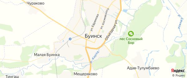 Карта Буинска с районами, улицами и номерами домов: Буинск на карте России