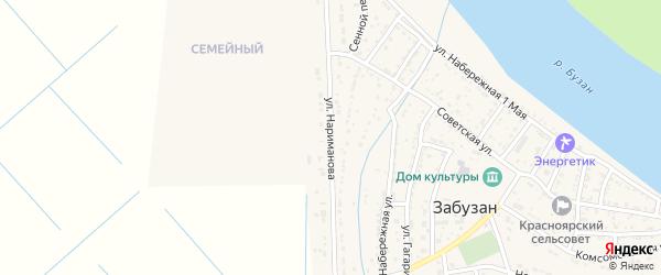 Улица Нариманова на карте села Забузана Астраханской области с номерами домов