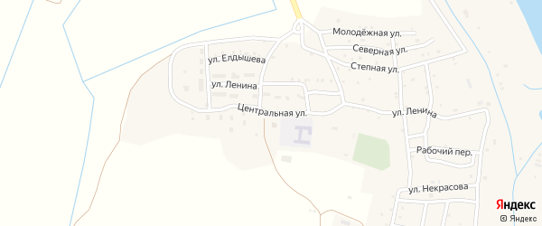 Центральная улица на карте села Каралат Астраханской области с номерами домов