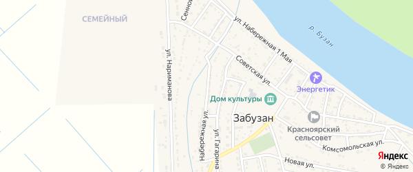 Набережная улица на карте села Забузана Астраханской области с номерами домов