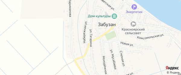 Улица Гагарина на карте села Забузана Астраханской области с номерами домов
