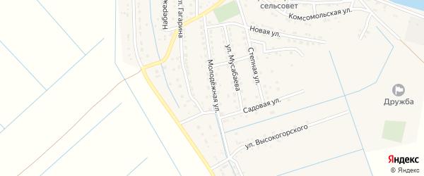 Молодежная улица на карте села Забузана Астраханской области с номерами домов