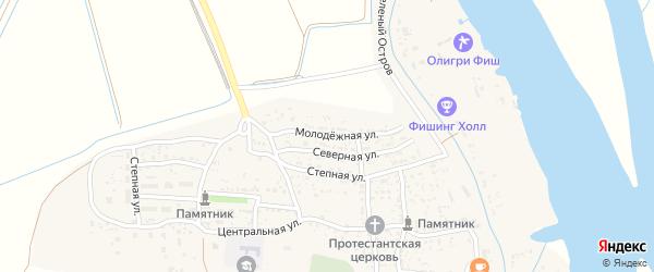 Молодежная улица на карте села Каралат Астраханской области с номерами домов