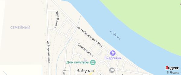Набережная 1 Мая улица на карте села Забузана Астраханской области с номерами домов
