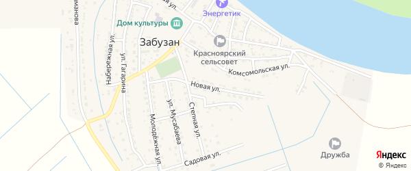 Новая улица на карте села Забузана Астраханской области с номерами домов