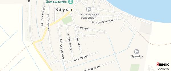 Улица Миронова на карте села Забузана Астраханской области с номерами домов