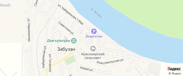Улица Чехова на карте села Забузана Астраханской области с номерами домов