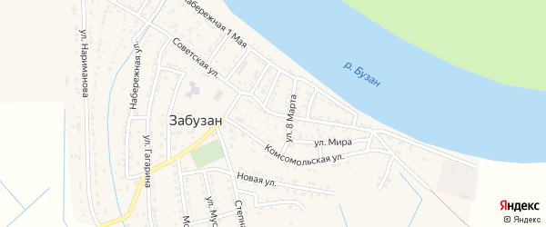 Советская улица на карте села Забузана Астраханской области с номерами домов