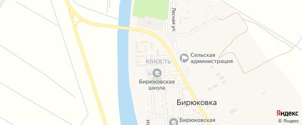 Юбилейная улица на карте села Бирюковки Астраханской области с номерами домов
