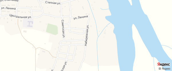 Набережная улица на карте села Каралат Астраханской области с номерами домов