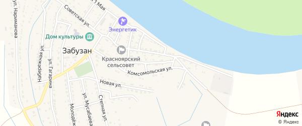 Улица Мира на карте села Забузана Астраханской области с номерами домов