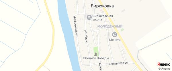 Улица Мира на карте села Бирюковки Астраханской области с номерами домов