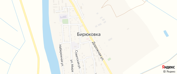 Дачная улица на карте села Бирюковки Астраханской области с номерами домов