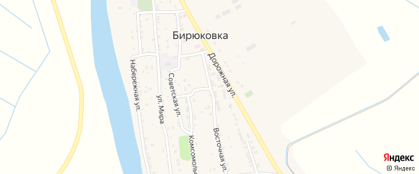 Молодежная улица на карте села Бирюковки Астраханской области с номерами домов