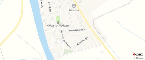 Пионерская улица на карте села Бирюковки Астраханской области с номерами домов