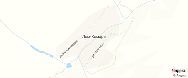 Карта деревни Лом-Комары в Кировской области с улицами и номерами домов