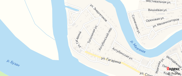 Тополиный переулок на карте села Красного Яра Астраханской области с номерами домов