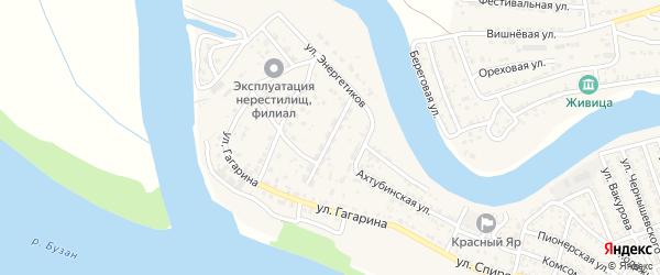 Ахтубинский переулок на карте села Красного Яра Астраханской области с номерами домов