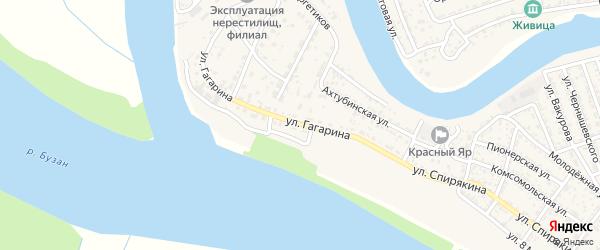 Улица Гагарина на карте села Красного Яра Астраханской области с номерами домов