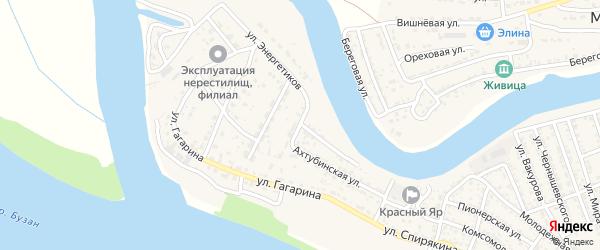 Ахтубинская улица на карте села Красного Яра Астраханской области с номерами домов