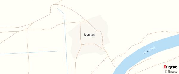 Лазурная улица на карте поселка Кигач Астраханской области с номерами домов