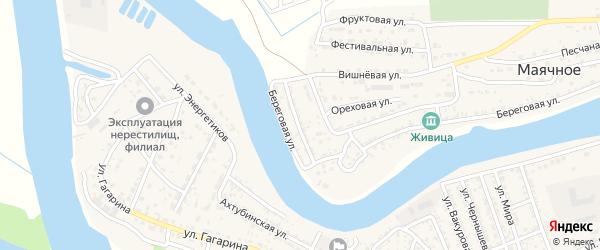 Солнечная улица на карте Маячного села Астраханской области с номерами домов