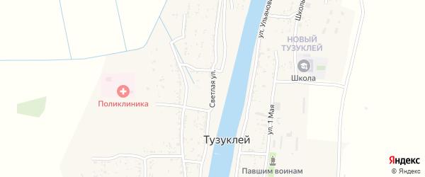 Светлая улица на карте села Тузуклей Астраханской области с номерами домов