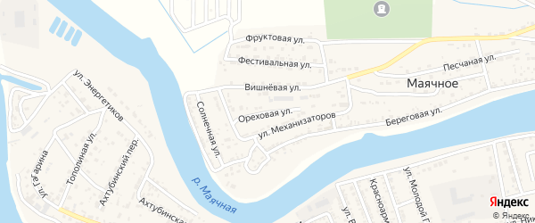 Ореховая улица на карте Маячного села Астраханской области с номерами домов