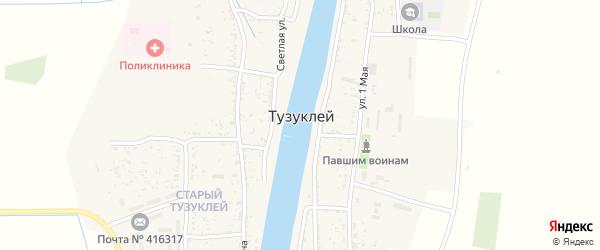 Зеленая улица на карте села Тузуклей Астраханской области с номерами домов