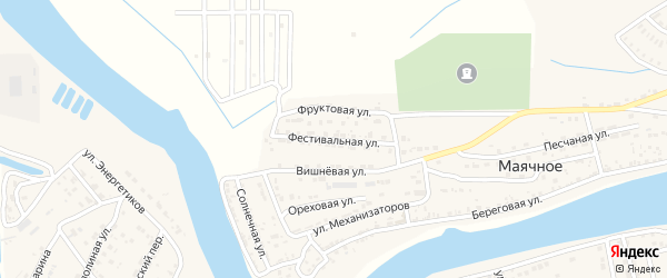Фестивальная улица на карте Маячного села Астраханской области с номерами домов