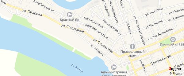 Улица Спирякина на карте села Красного Яра Астраханской области с номерами домов
