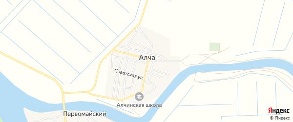 Территория СНТ Труд на карте поселка Алча Астраханской области с номерами домов