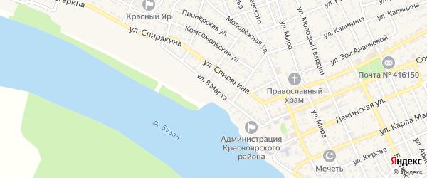 Улица 8 Марта на карте села Красного Яра Астраханской области с номерами домов