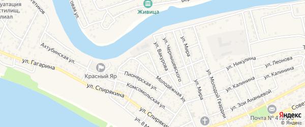 Пролетарский переулок на карте села Красного Яра Астраханской области с номерами домов