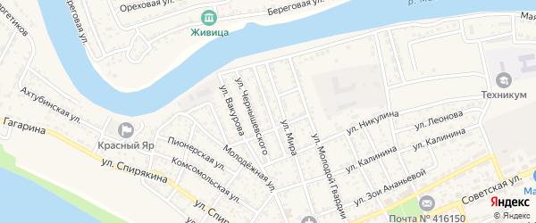 Красноармейская улица на карте села Красного Яра Астраханской области с номерами домов