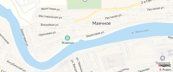 Береговая улица на карте Маячного села Астраханской области с номерами домов